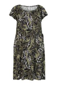 Miss Etam Plus jersey jurk met all over print groen/zwart/wit, Groen/zwart/wit