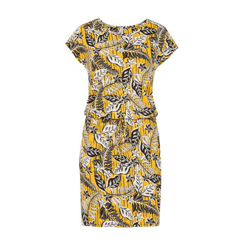 Miss Etam Regulier jurk met all over print geel, Deze damesjurk van Miss Etam Regulier is gemaakt van een viscosemix en heeft een all over print. De jurk heeft verder een ronde hals en korte mouwen.details van deze jurk:tunnelkoordExtra gegevens:Merk: Miss EtamKleur: GeelModel: Jurk (Dames)Voorraad: 9Verzendkosten: 0.00Plaatje: Fig1Plaatje: Fig2Maat/Maten: XLLevertijd: direct leverbaar