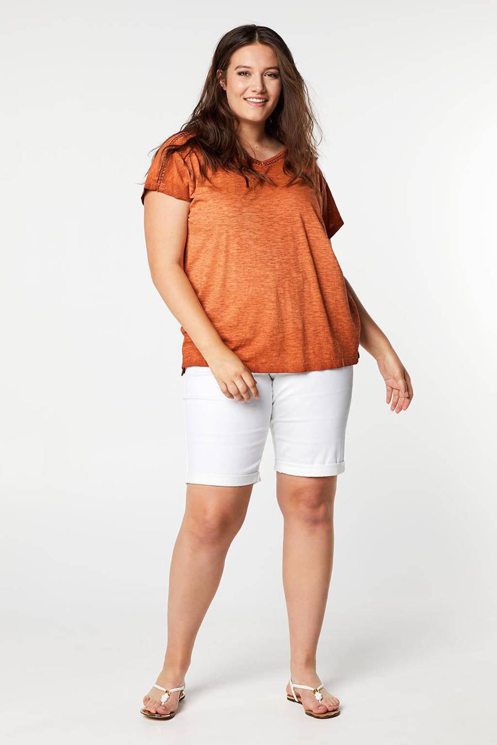 Miss Etam Plus gemêleerd T-shirt roodbruin, Roodbruin