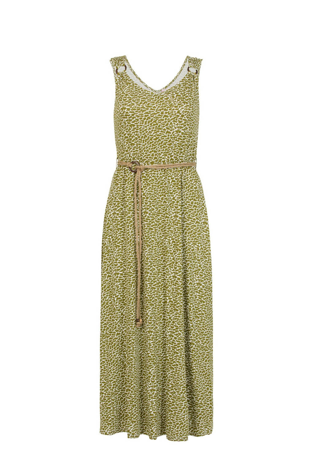 Miss Etam Regulier maxi jurk met all over print en open detail groen, Groen