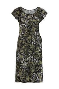 Miss Etam Regulier jersey jurk met bladprint groen/zwart/wit, Groen/zwart/wit