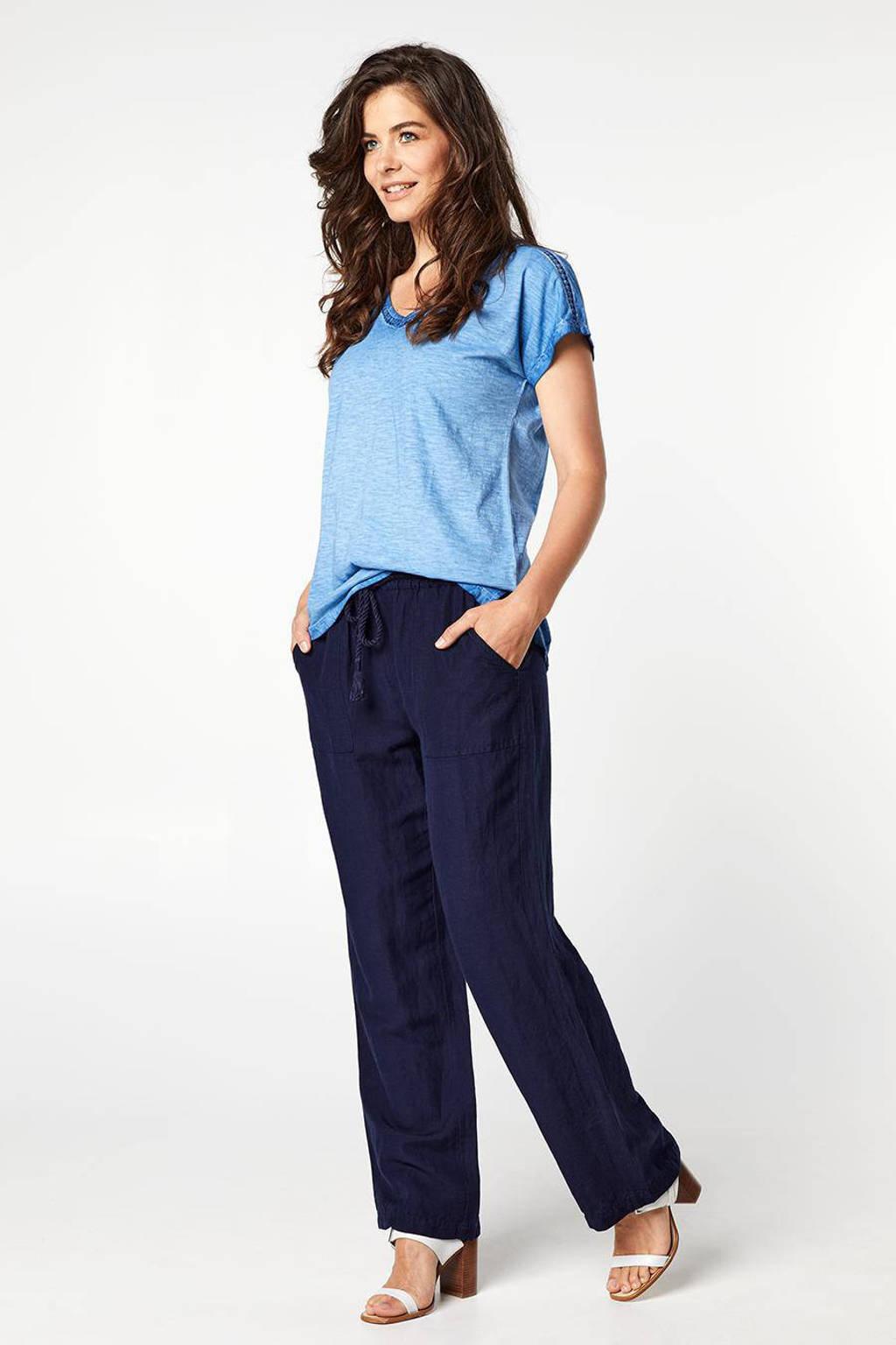 Miss Etam Regulier gehaakt T-shirt blauw, Blauw