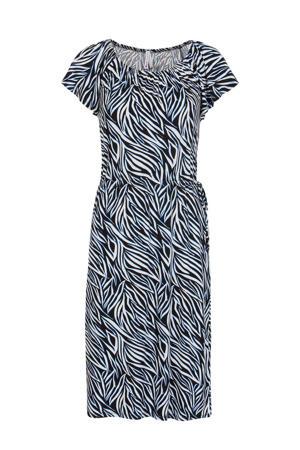 off shoulder jurk met all over print en plooien zwart/wit/blauw