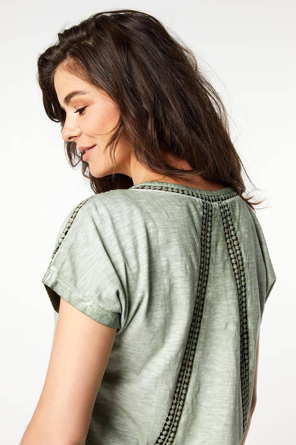 Miss Etam Regulier gehaakt T-shirt groen, Groen