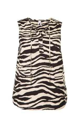 top met zebraprint beige/zwart