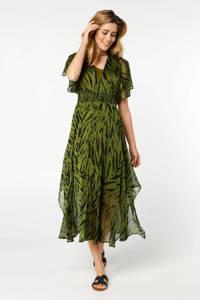 Miss Etam Lang semi-transparante A-lijn jurk met dierenprint en ruches groen/zwart, Groen/zwart