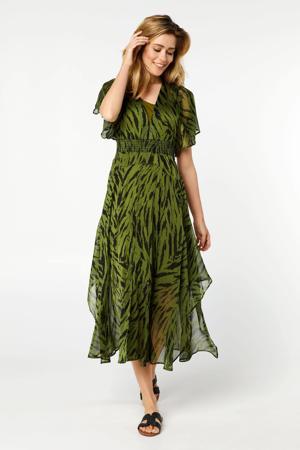semi-transparante A-lijn jurk met dierenprint en ruches groen/zwart