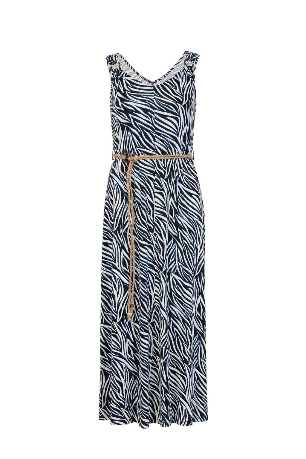 Miss Etam Regulier maxi jurk met zebraprint en open detail zwart/wit, Zwart/wit
