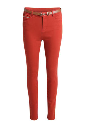 high waist slim fit broek roodbruin