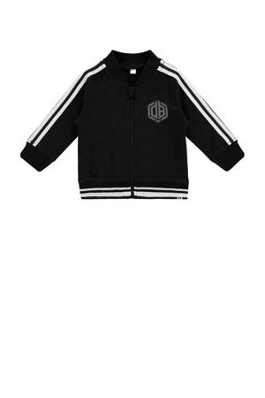 vest Onesti met contrastbies zwart/wit