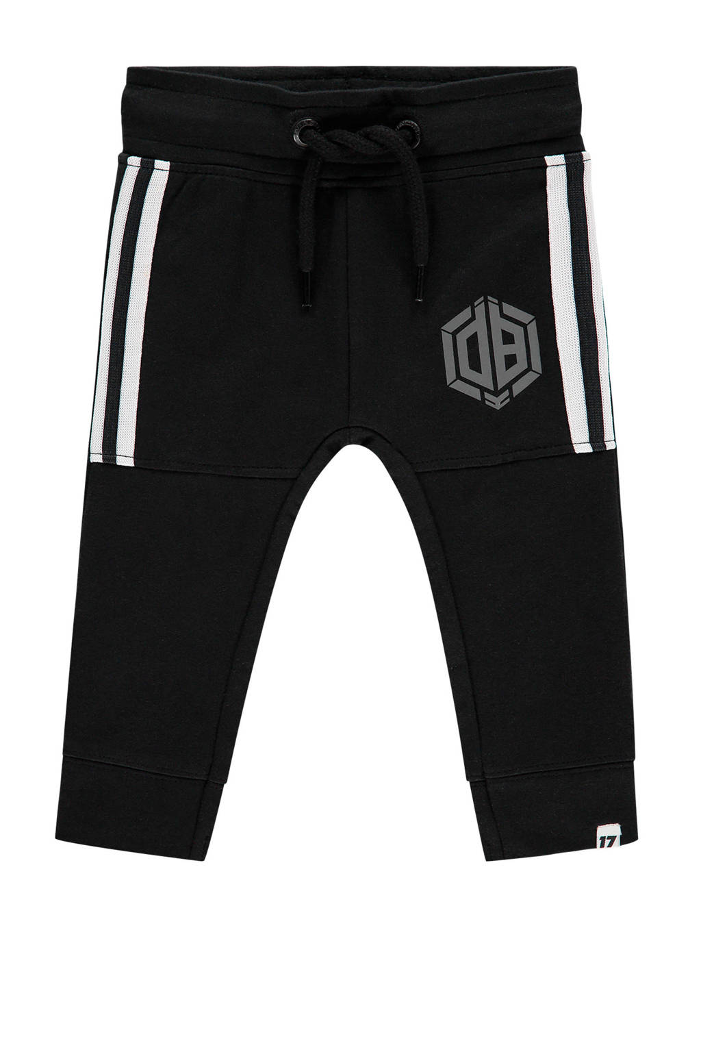 Vingino Daley Blind regular fit joggingbroek Sack met logo zwart/wit, Zwart/wit