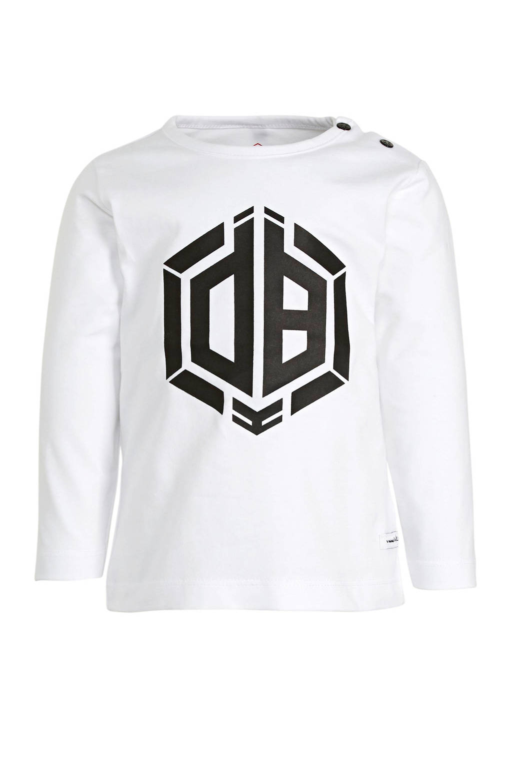 Vingino Daley Blind longsleeve Jaqua met logo wit/zwart, Wit/zwart