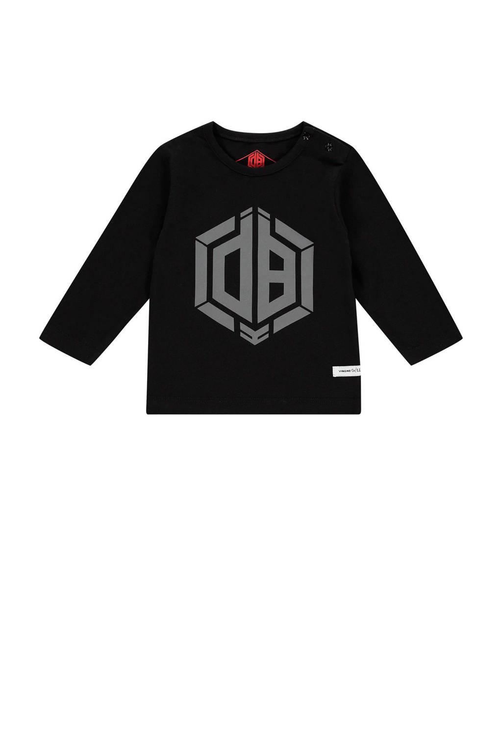 Vingino Daley Blind longsleeve Jaqua met logo zwart/grijs, Zwart/grijs