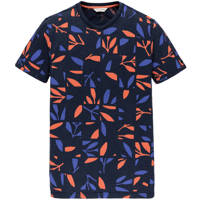 Cast Iron T-shirt met all over print donkerblauw/oranje, Donkerblauw/oranje