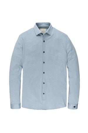 regular fit jersey overhemd lichtblauw