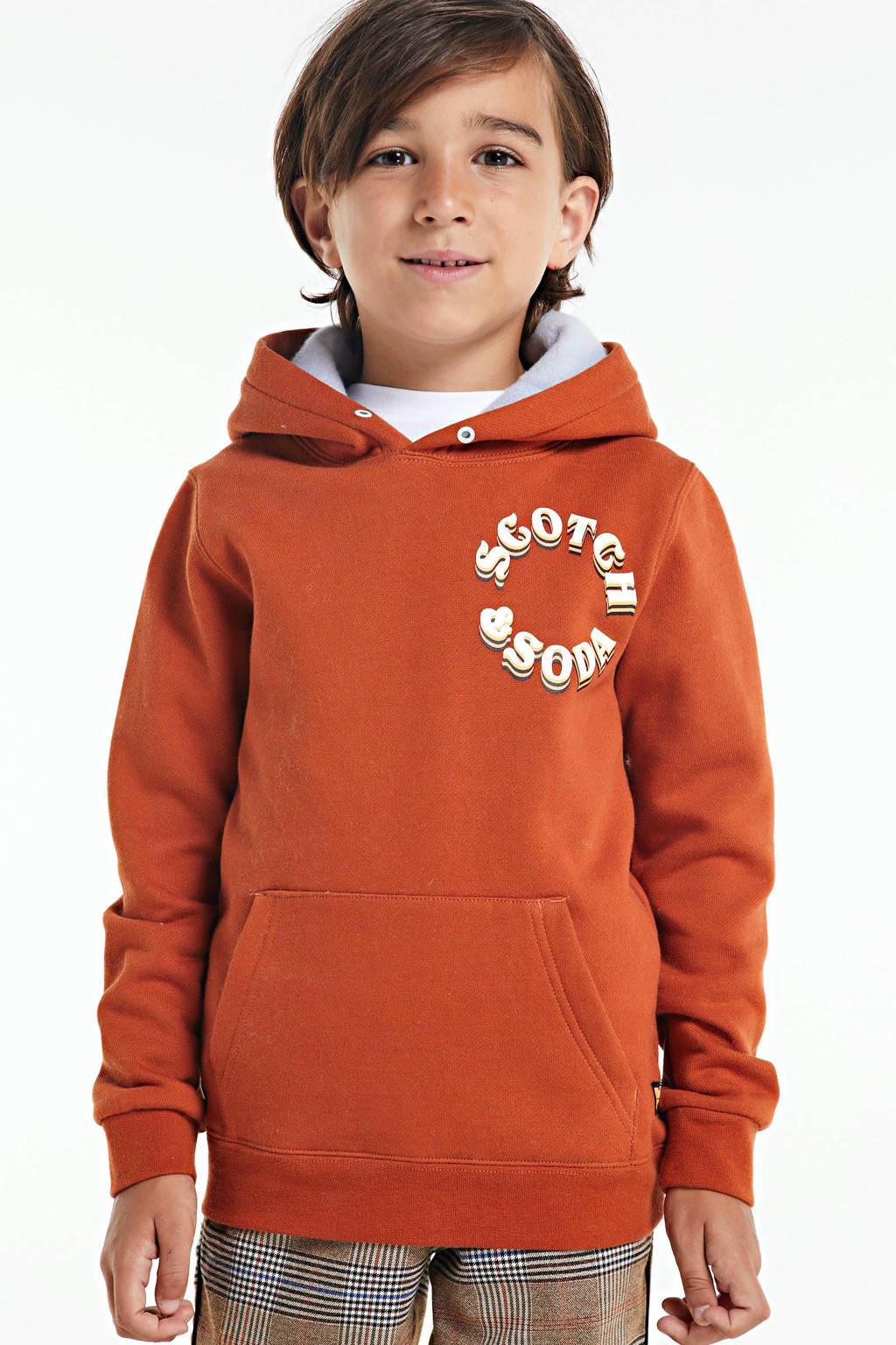 Scotch & Soda hoodie met logo donker oranje, Donker oranje
