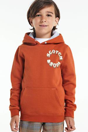 hoodie met logo donker oranje