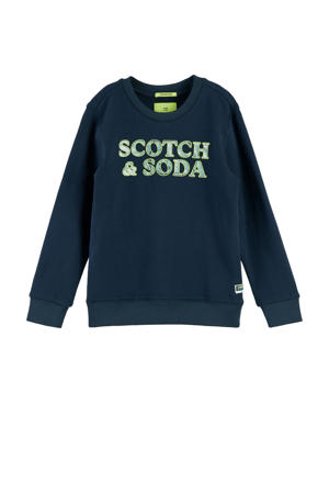 sweater met logo donkerblauw/geel/groen