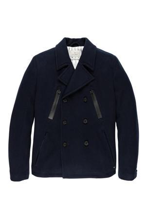 winterjas CULT CLASSIC met wol donkerblauw