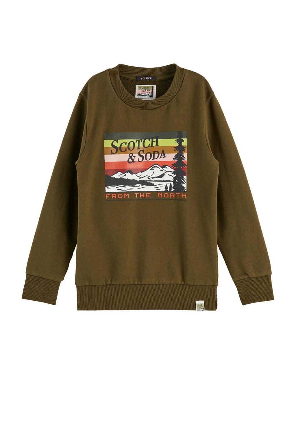 Scotch & Soda sweater met tekst groen, Groen