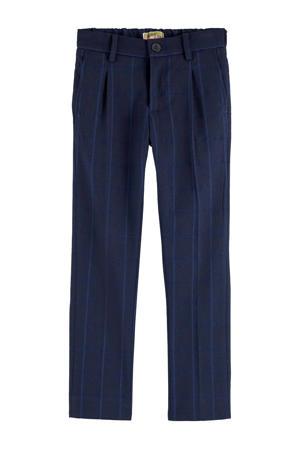 gestreepte slim fit broek donkerblauw