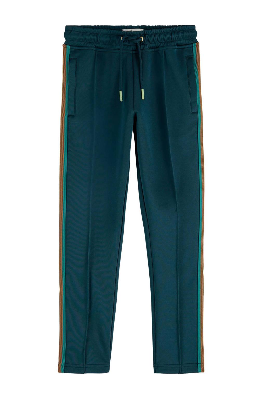 Scotch & Soda slim fit broek met zijstreep donkergroen/groen/bruin, Donkergroen/groen/bruin