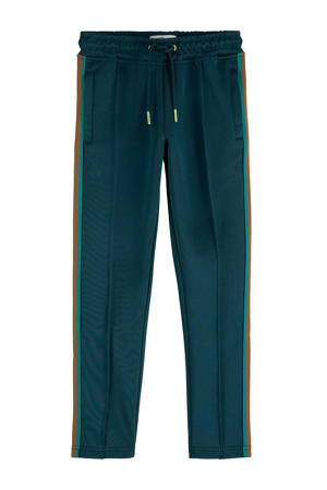 slim fit broek met zijstreep donkergroen/groen/bruin