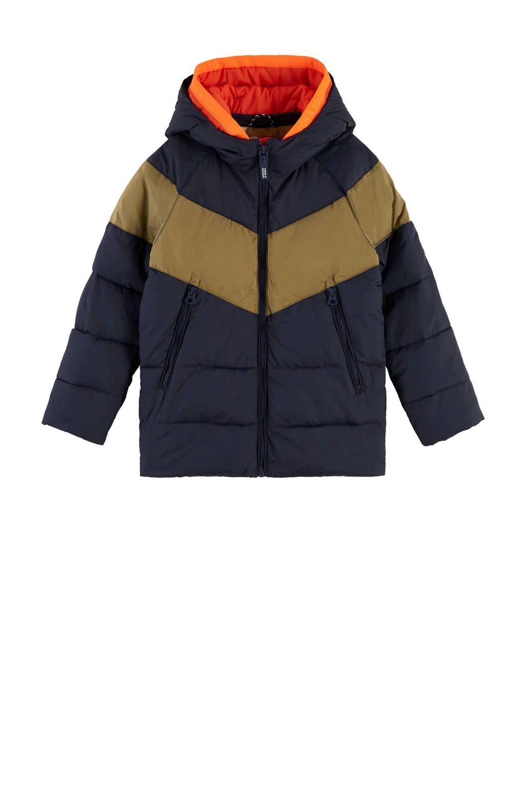 Scotch & Soda gewatteerde jas donkerblauw/bruin, Donkerblauw/bruin
