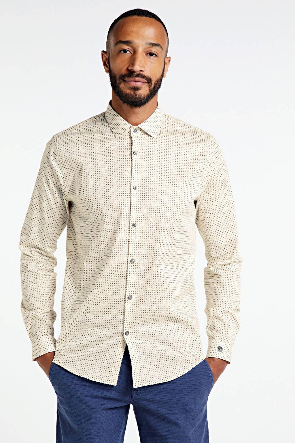 Cast Iron slim fit overhemd met all over print ecru, Ecru