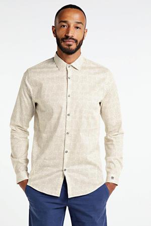 slim fit overhemd met all over print ecru