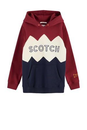 hoodie met tekst donkerrood/beige/donkerblauw