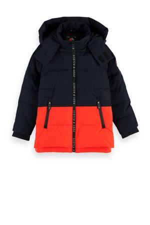 gewatteerde winterjas zwart/rood