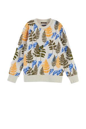 sweater met all over print en borduursels multi