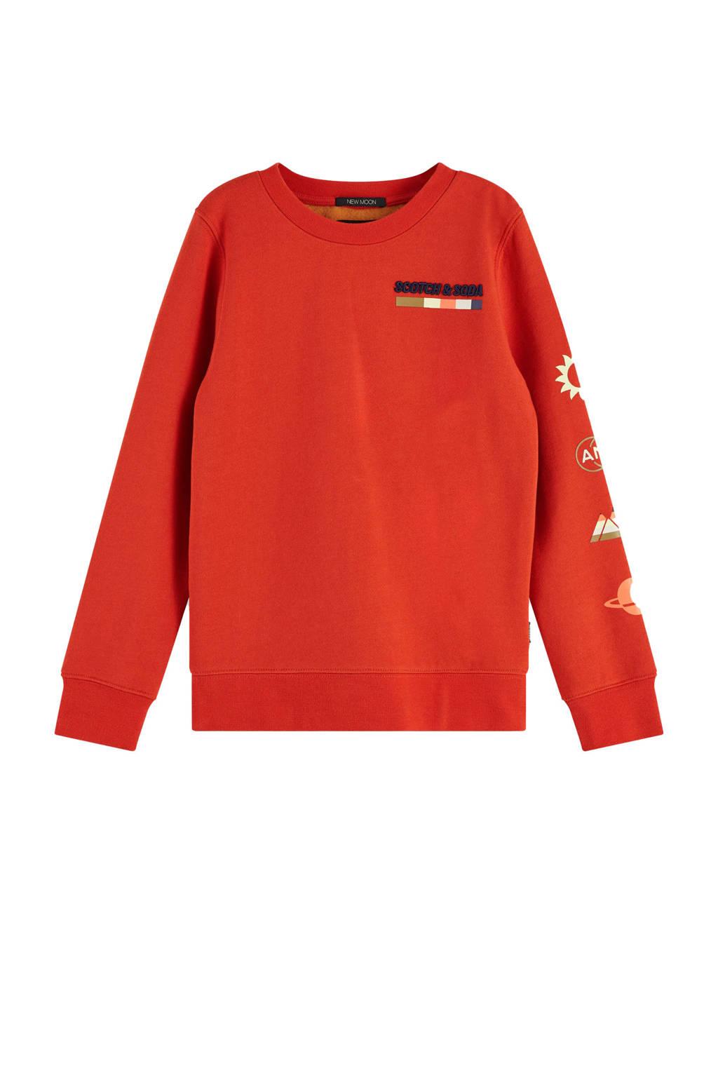 Scotch & Soda sweater met printopdruk rood, Rood