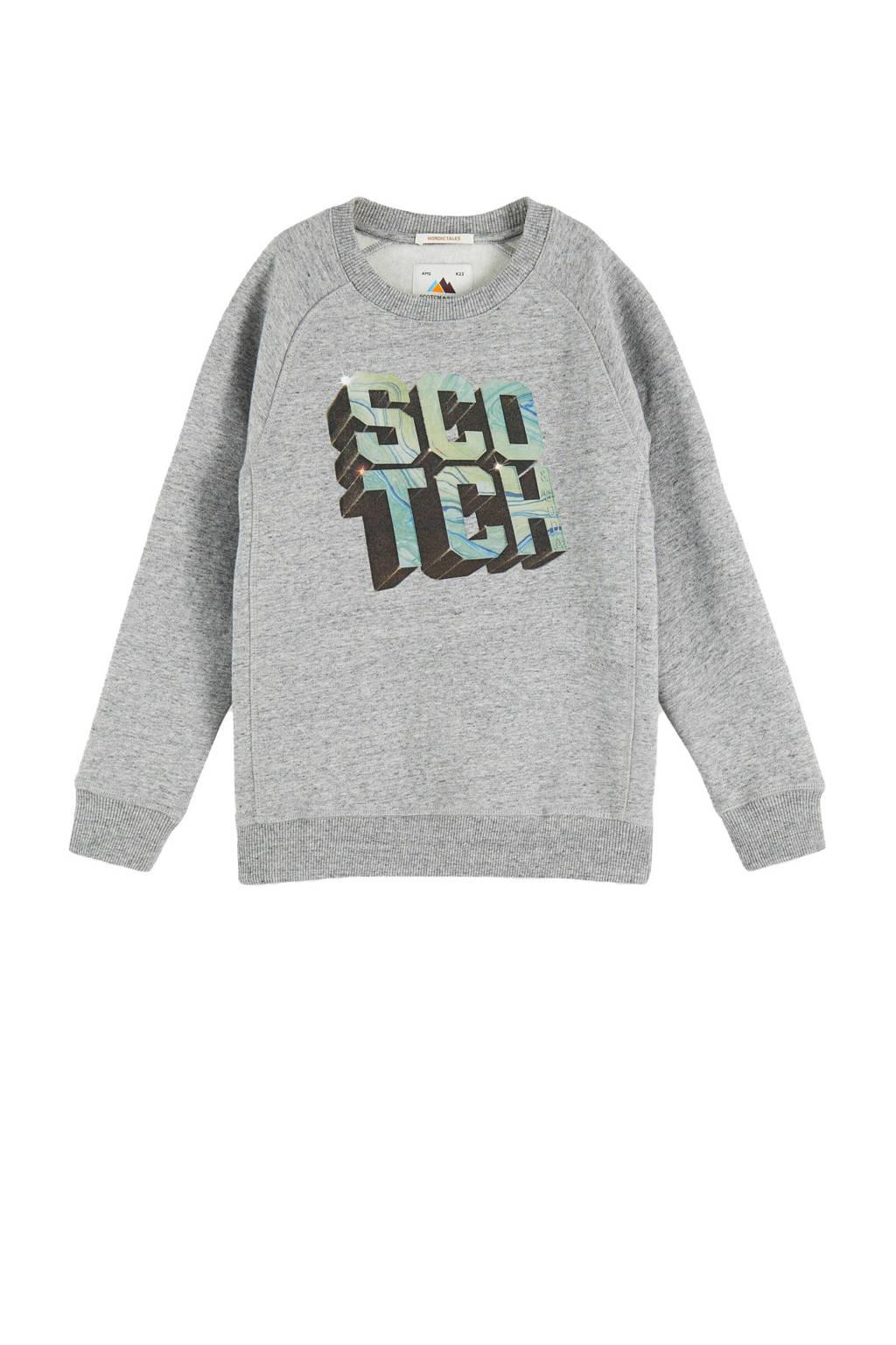 Scotch & Soda sweater met tekst grijs melange, Grijs melange