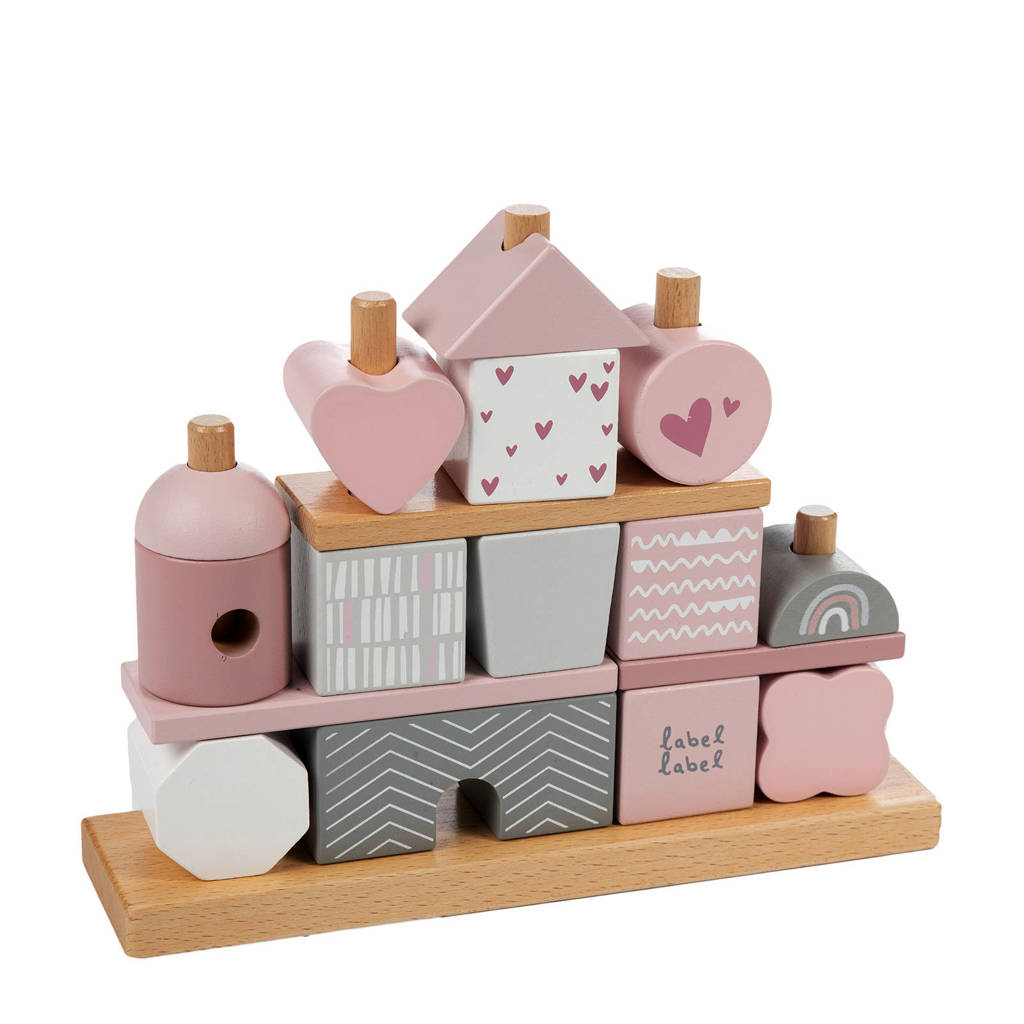 Label Label houten speelgoed stapelblokken, Roze