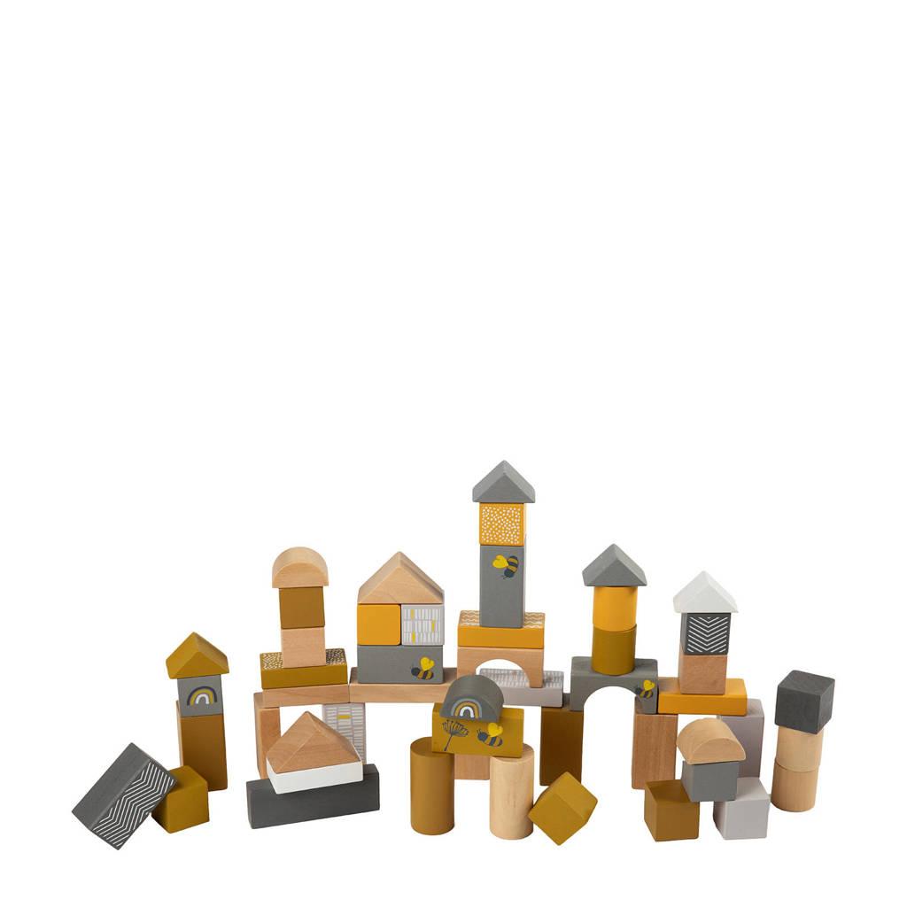 Label Label houten blokken, Oker
