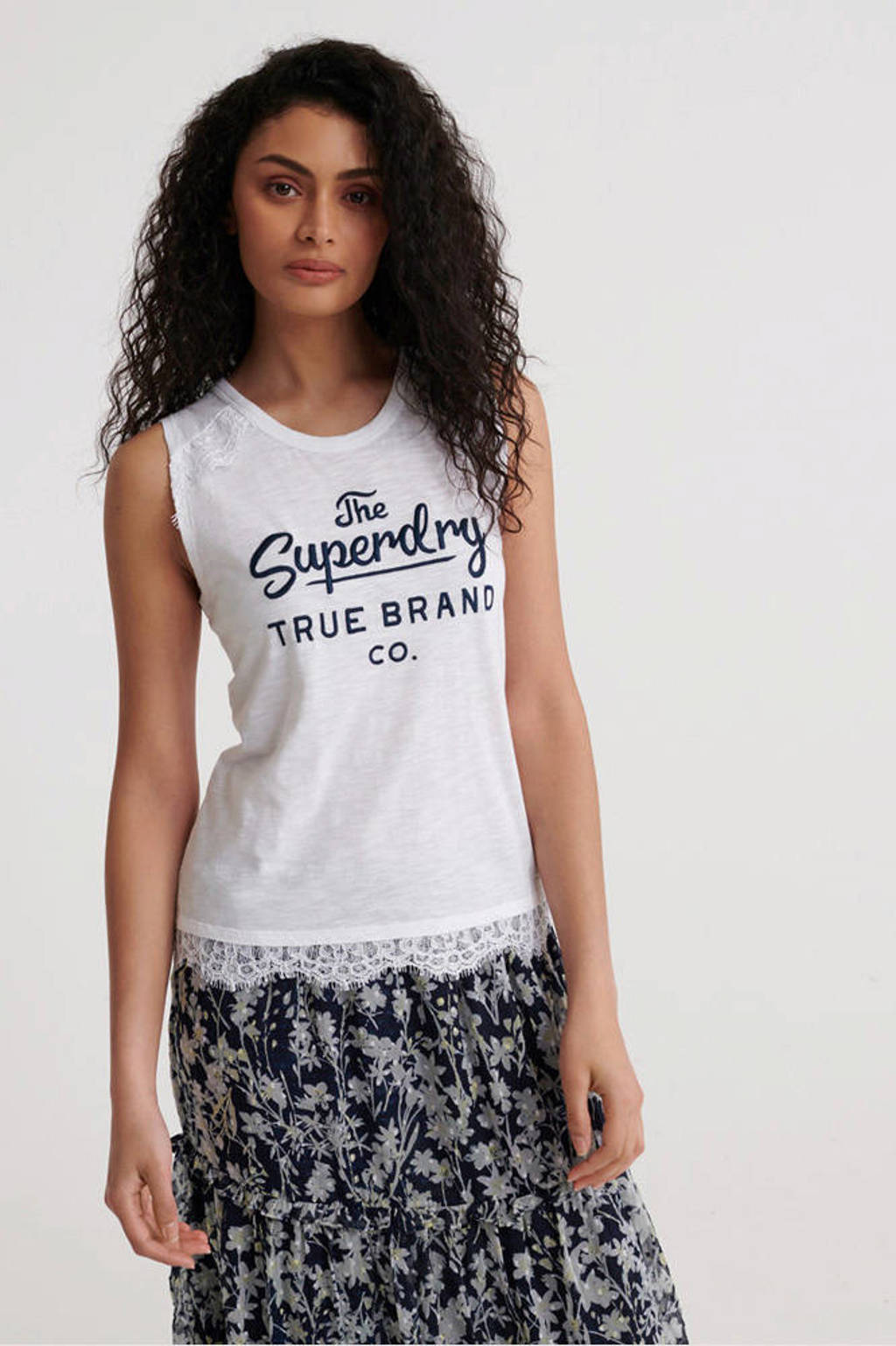 Superdry top met logo en kant wit, Wit