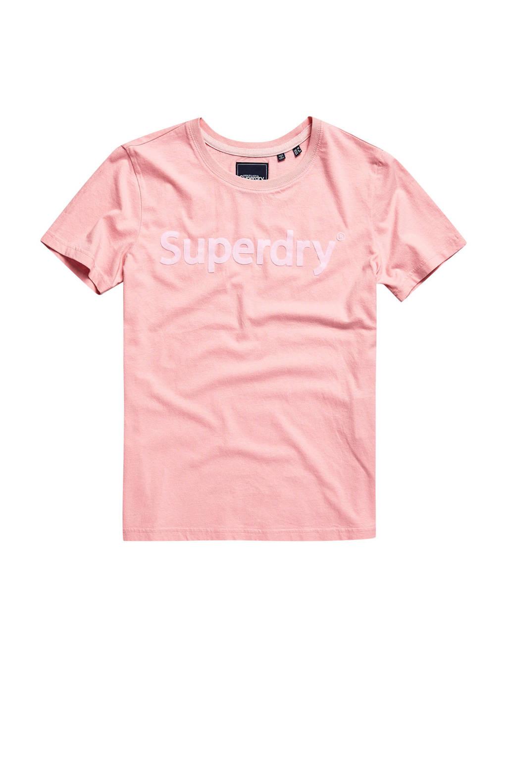 Superdry T-shirt met logo roze, Roze