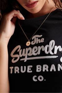 Superdry T-shirt met printopdruk en kant zwart/wit, Zwart/wit