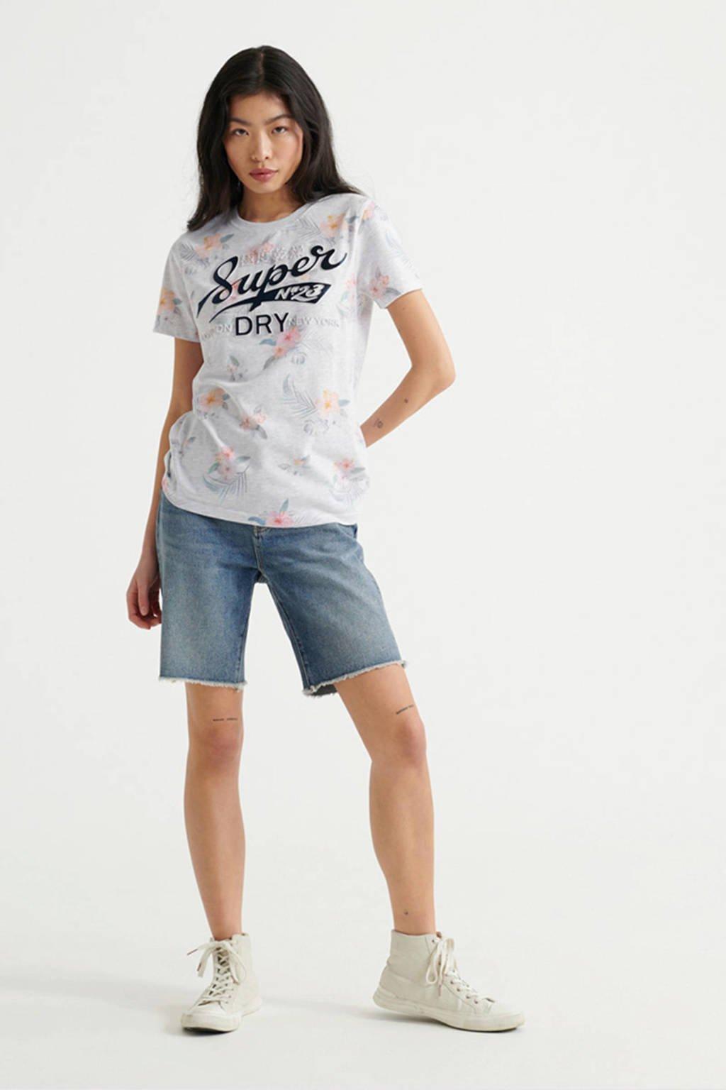Superdry T-shirt met printopdruk  lichtgrijs melée/marine,  Lichtgrijs melée/marine
