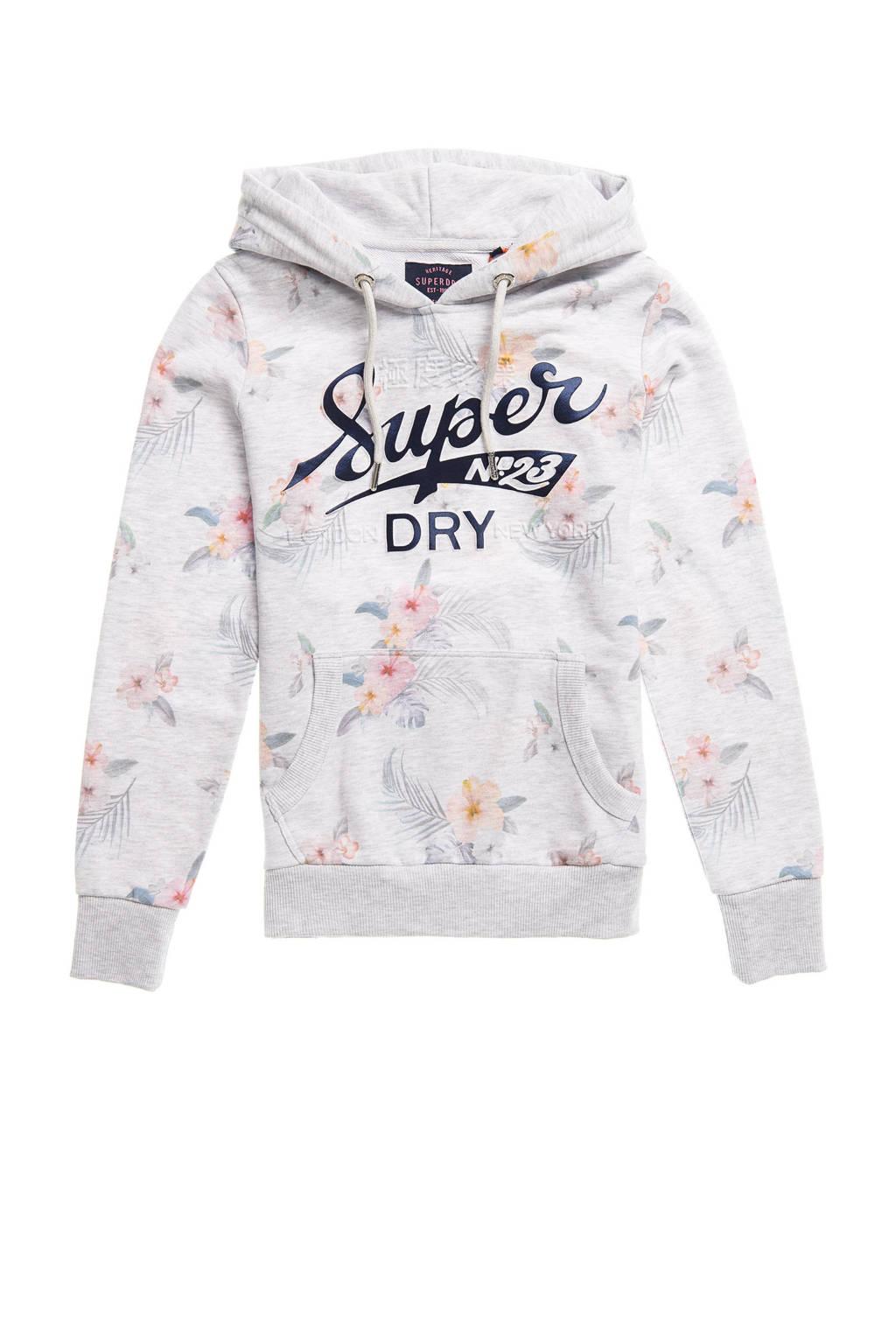 Superdry hoodie met all over print lichtgrijs melée/roze, Lichtgrijs melée/roze