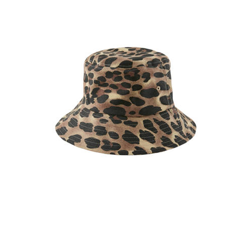 PIECES hoed met tijgerprint bruin