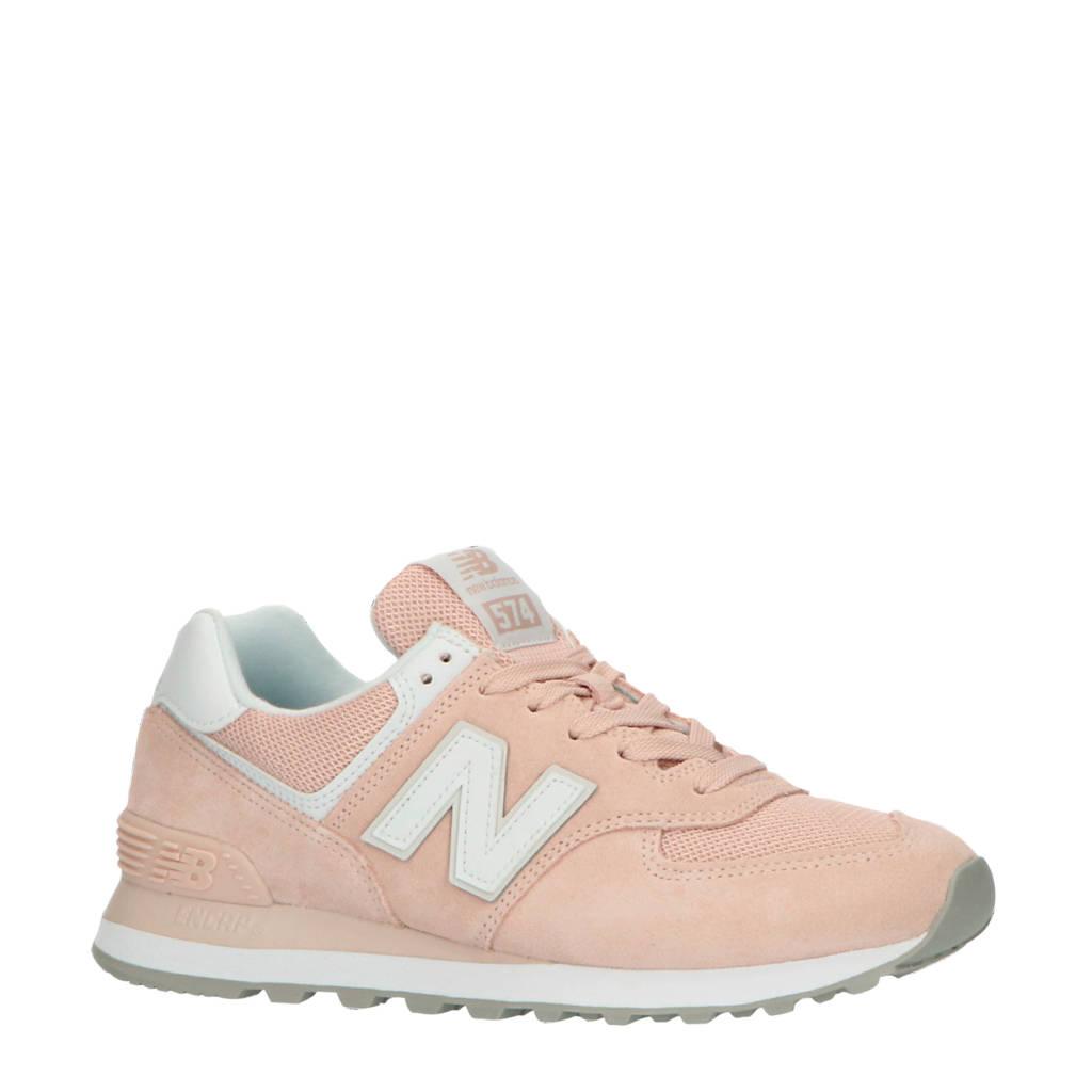 New Balance 574  suède sneakers roze/wit, Lichtroze/wit