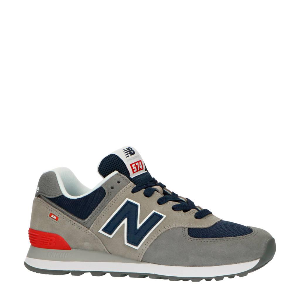 New Balance 574  suède sneakers grijs/blauw, Grijs/blauw/wit