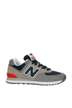574  suède sneakers grijs/blauw