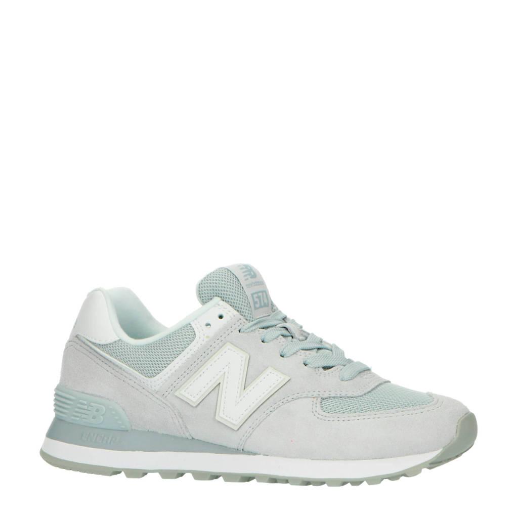 New Balance 574  suède sneakers grijsblauw/wit, Grijsblauw/wit