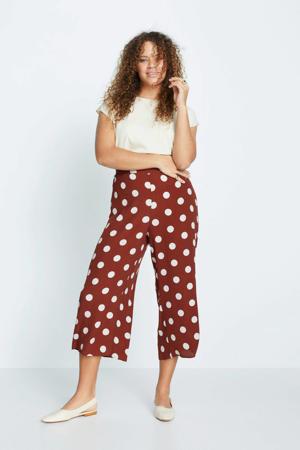 high waist culotte met stippen rood/wit