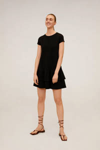 Mango A-lijn jurk met volant zwart, Zwart