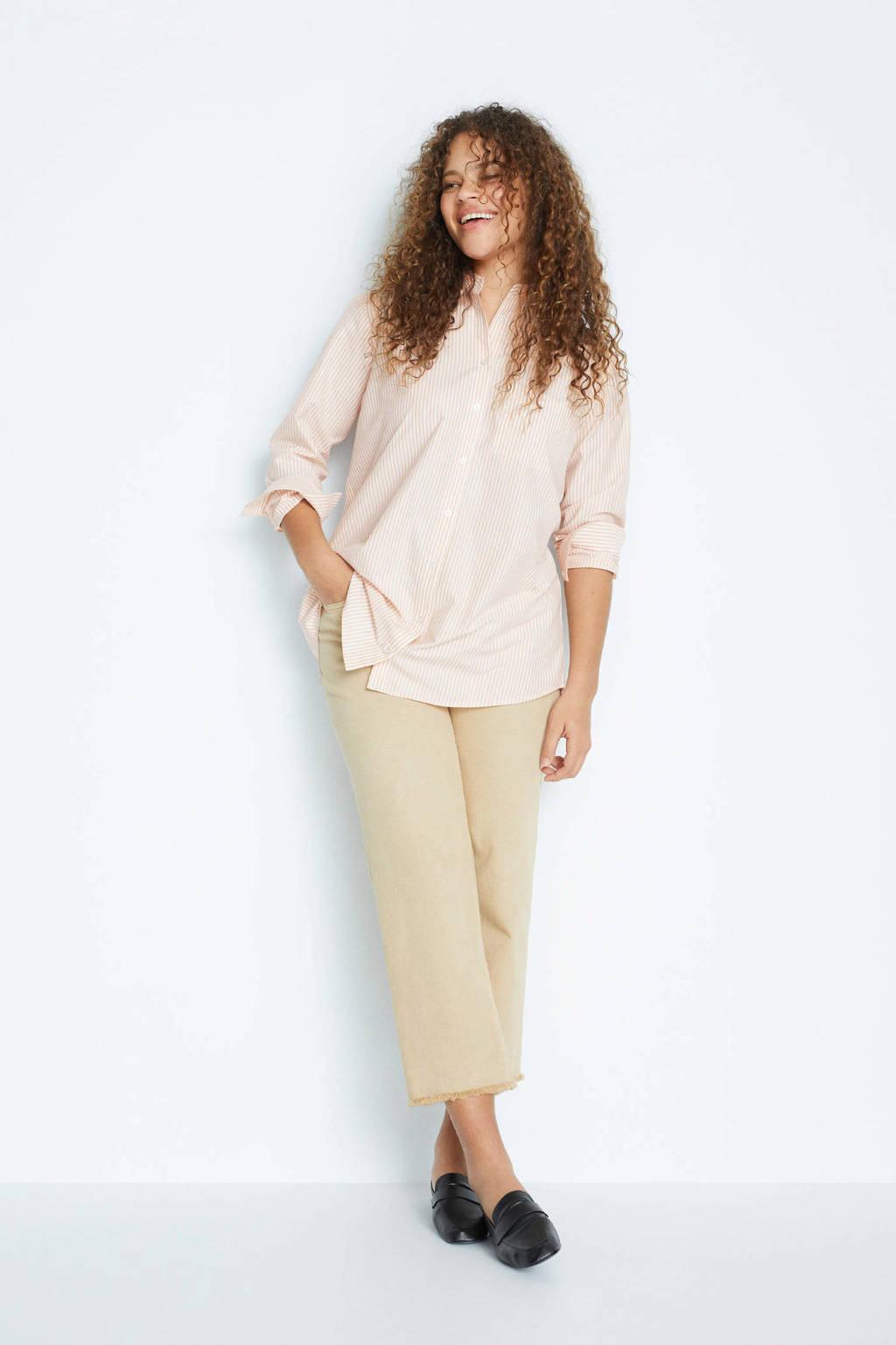 Violeta by Mango gestreepte blouse lichtroze/wit, Lichtroze/wit